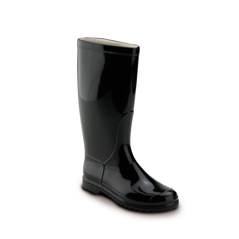Boot in bright PVC with medium height boot leg and polyester lining