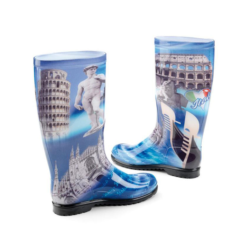 "Classic rainboot made of transparent pvc with tubular inner sock with pattern ""Italy"""