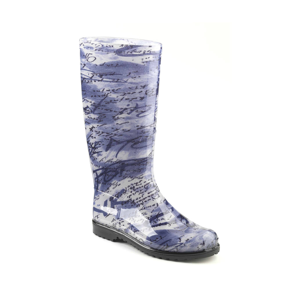 "Classic rainboot made of transparent pvc with tubular inner sock with ""vogue avio"" pattern"