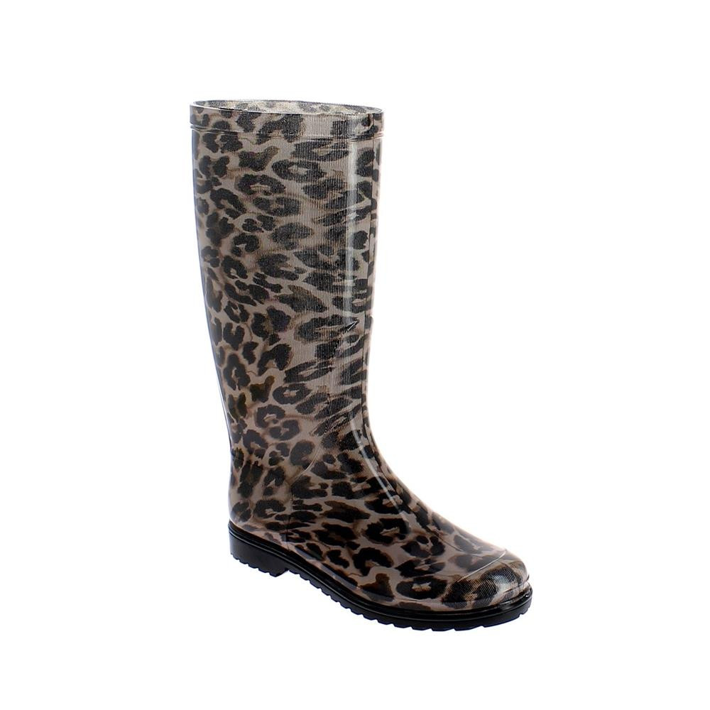 "Classic rainboot made of transparent pvc with tubular inner sock with ""Brown leopard"" pattern"