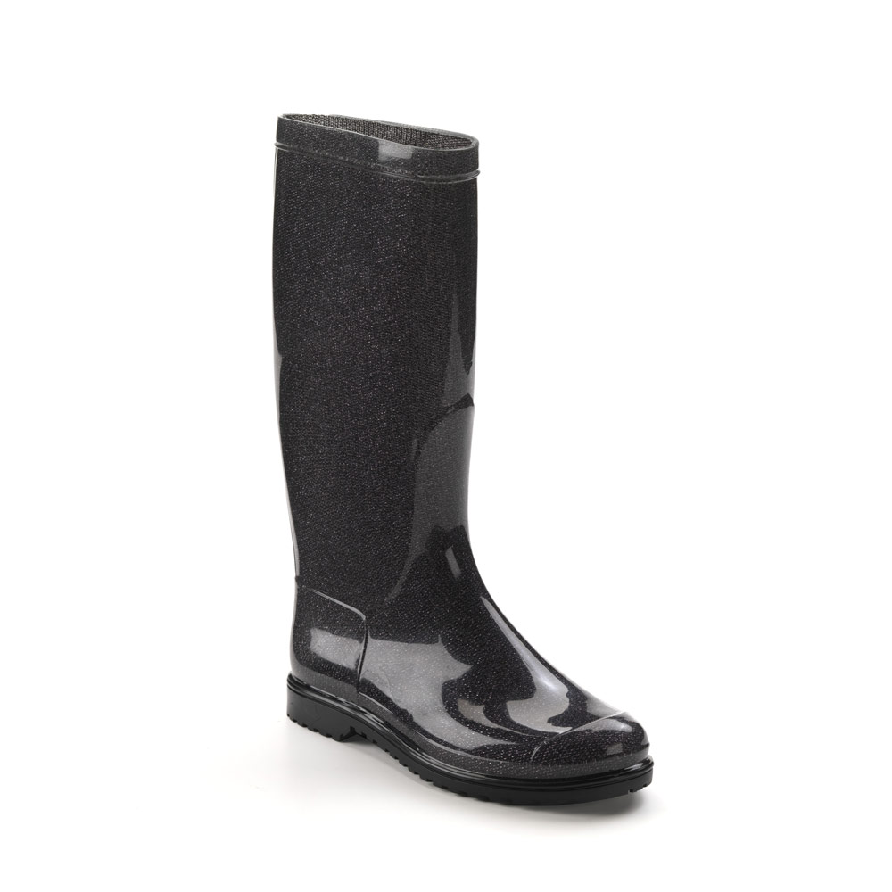 "Classic rainboot made of transparent pvc with tubular inner sock with ""black lamé"" pattern"