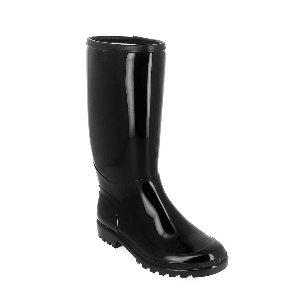 Bright finish pvc boot with upper trim and synthetic wool inner lining