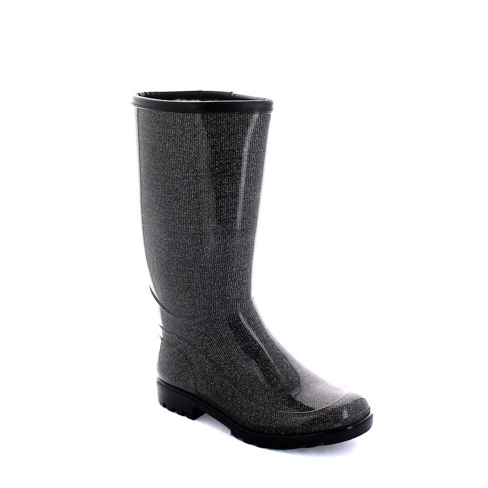 "Transparent Pvc boot with tubular inner sock ""Black Lamé""; trimmed bootleg and synthetic wool inner lining"