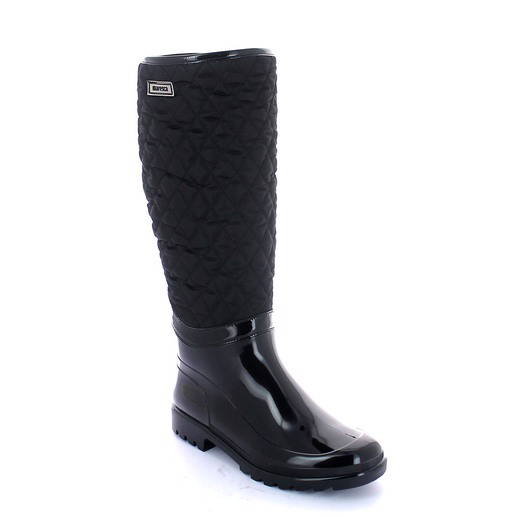 Bright finish pvc boot with synthetic wool inner lining; quilted bootleg with zip fastener