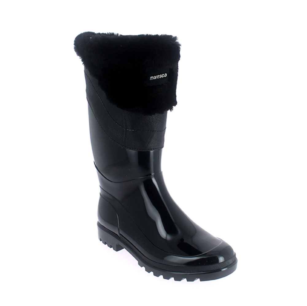 Bright finish Pvc Boot with synthetic lamb wool inner lining and contoured faux fur cuff. Made in Italy