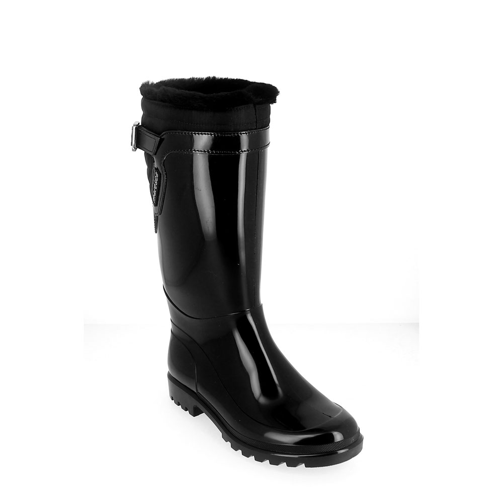 Bright finish Pvc Boot with synthetic wool inner lining and rear patched piece in technical waterproof material and strap. Made in Italy