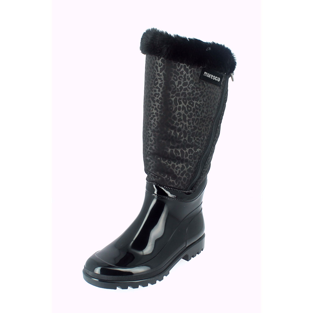 Bright finish Pvc Boot with synthetic lamb wool inner lining. Bootleg in waterproof fabric with iridescent print, water-repellent zip fastener and synthetic fur trim.Made in Italy