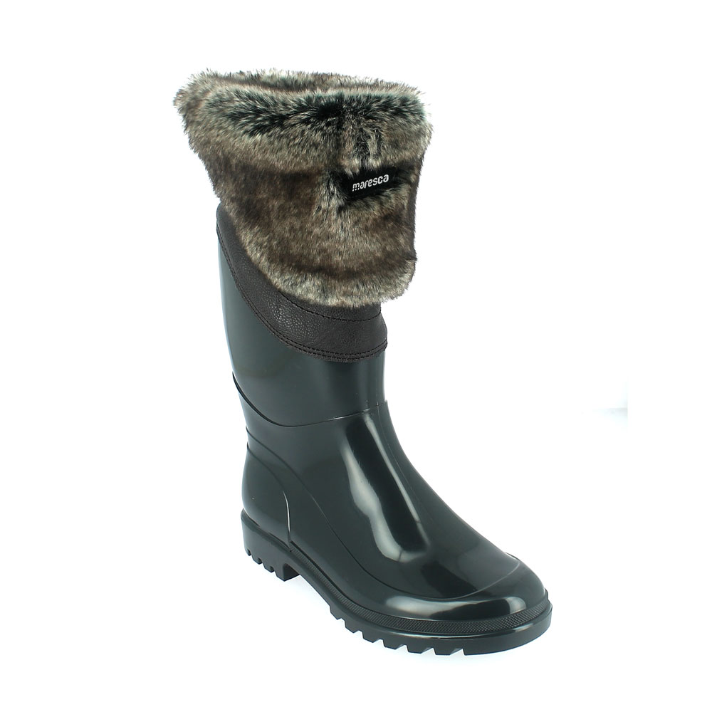 Bright finish Pvc Boot with synthetic lamb wool inner lining and contoured husky faux fur cuff. Made in Italy