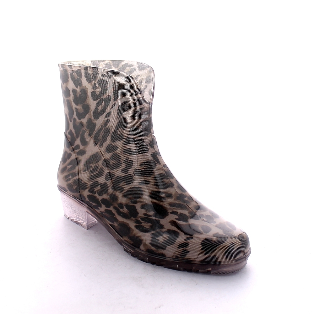 "Transparent pvc low boot  with tubular inner sock with ""Brown leopard"" pattern"
