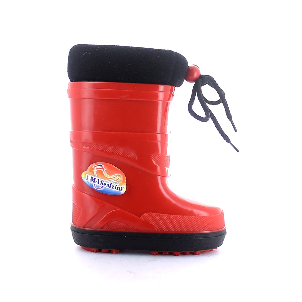 Two-colour pvc snow boot with brigh finish and with non extractable padded insock