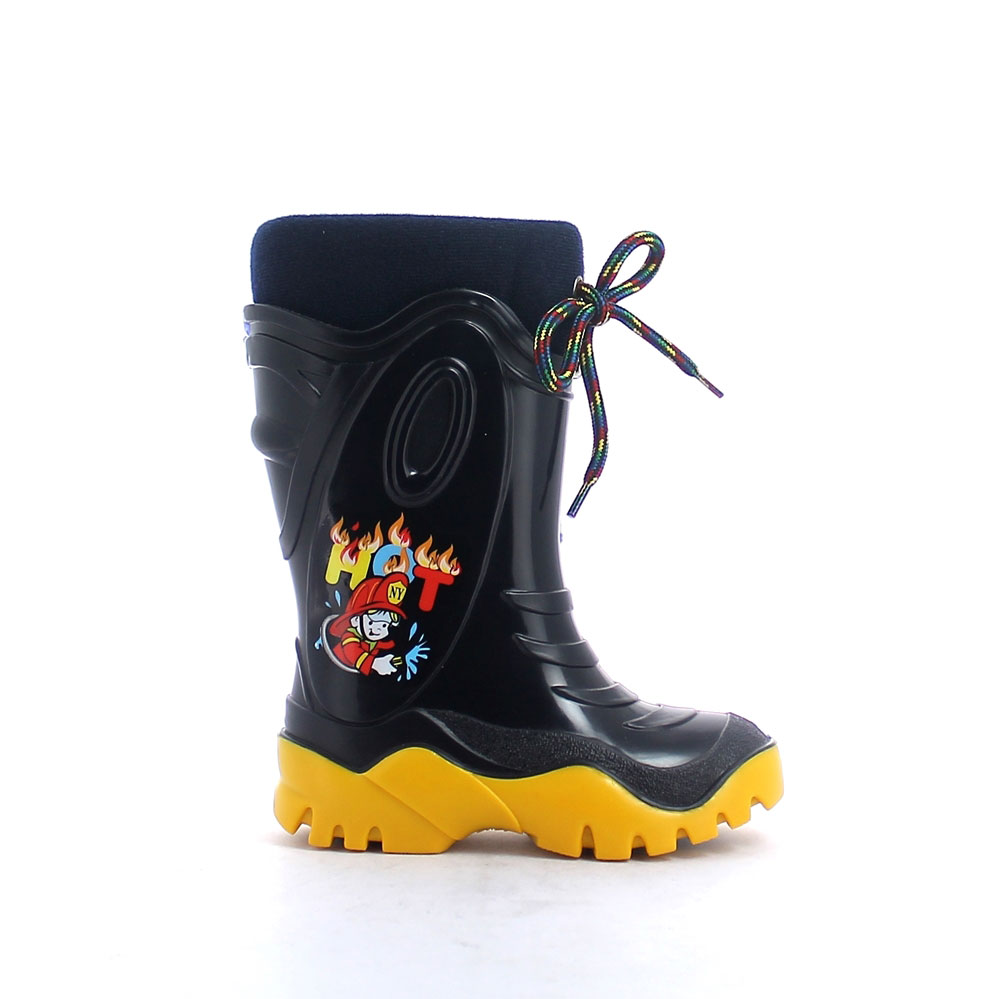 Two-colour pvc boot with brigh finish and extractable padded velvet insock
