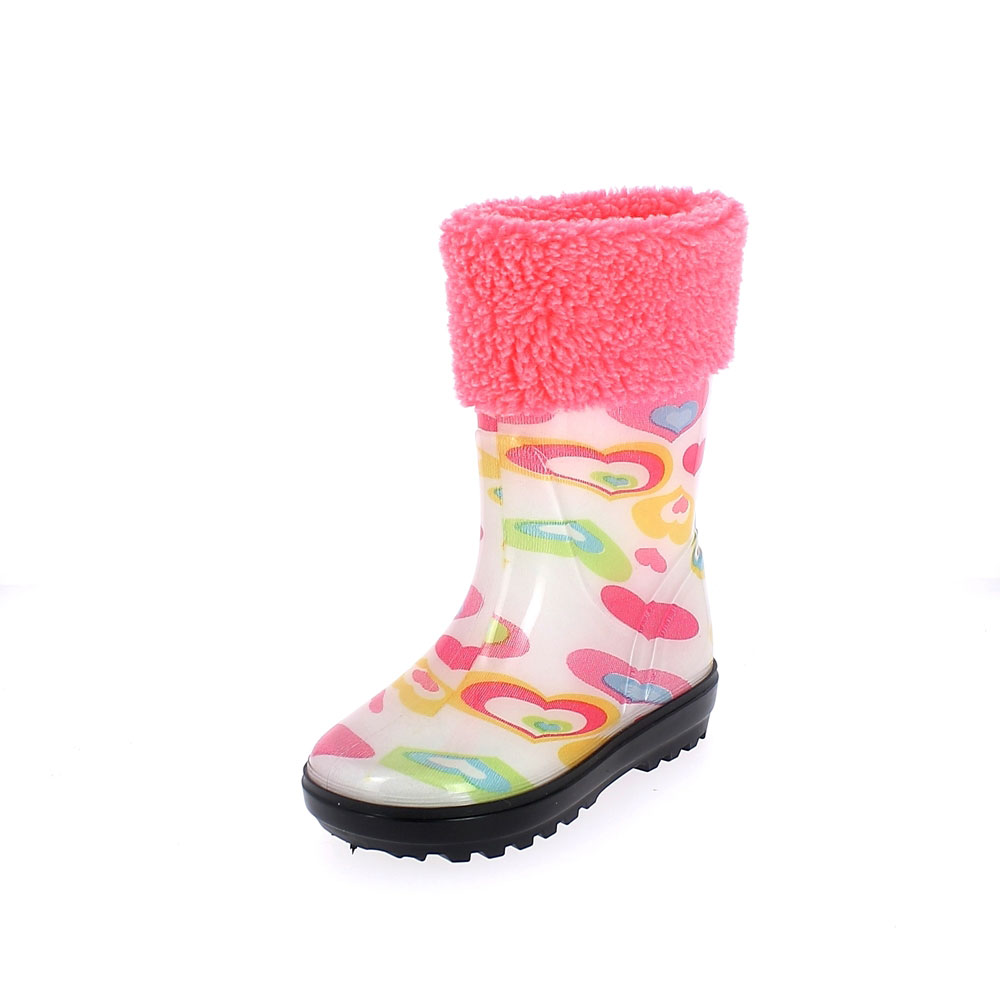 "Rainboot for children in transparent pvc with cut and sewn lining; felt inner lining and synthetic wool cuff - pattern ""hearts"""