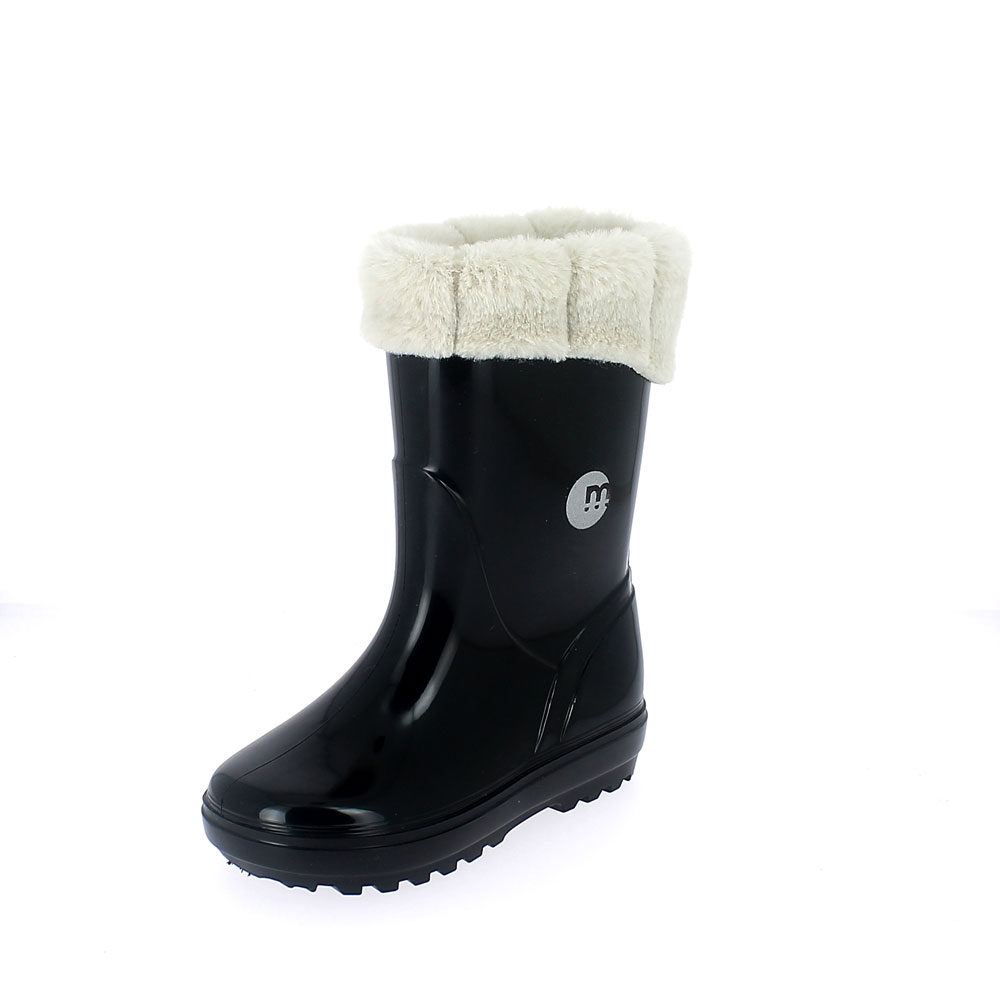 Rainboot for children in two-colour pvc with padprinting, felt lining and eco fur cuff - colour black