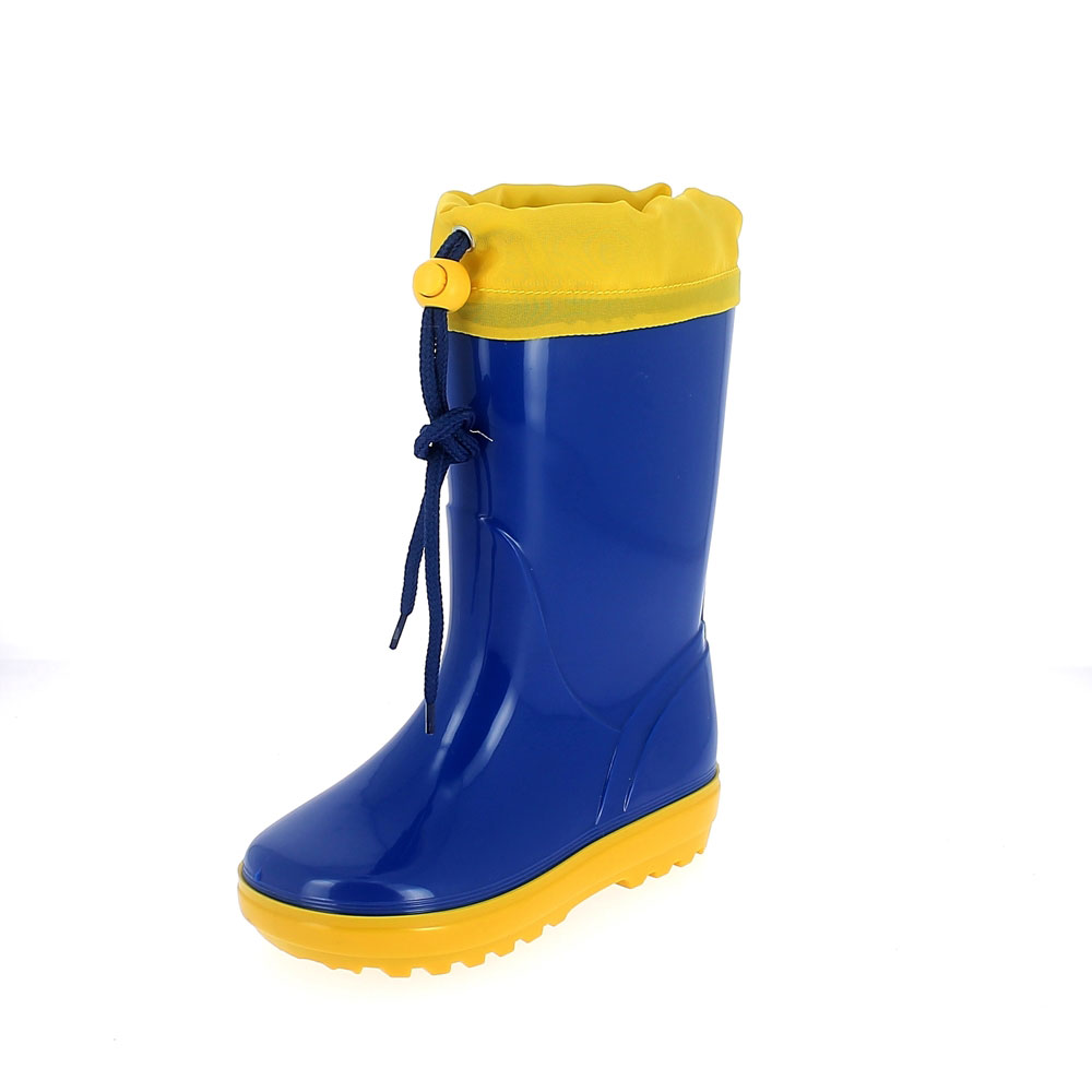 Rainboot for children in two-colour pvc with felt lining and collar - colour royal