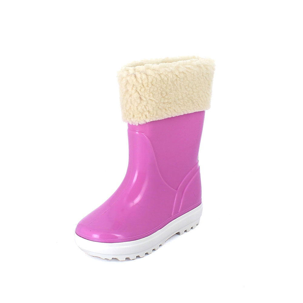 Rainboot for children in two-colour pvc with felt inner lining and synthetic lamb wool cuff - colour pink
