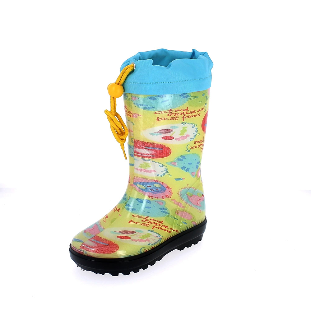 "Rainboot for children in transparent pvc with cut and sewn lining; felt inner lining and collar - pattern ""cat&mouse"" - colour giallo"