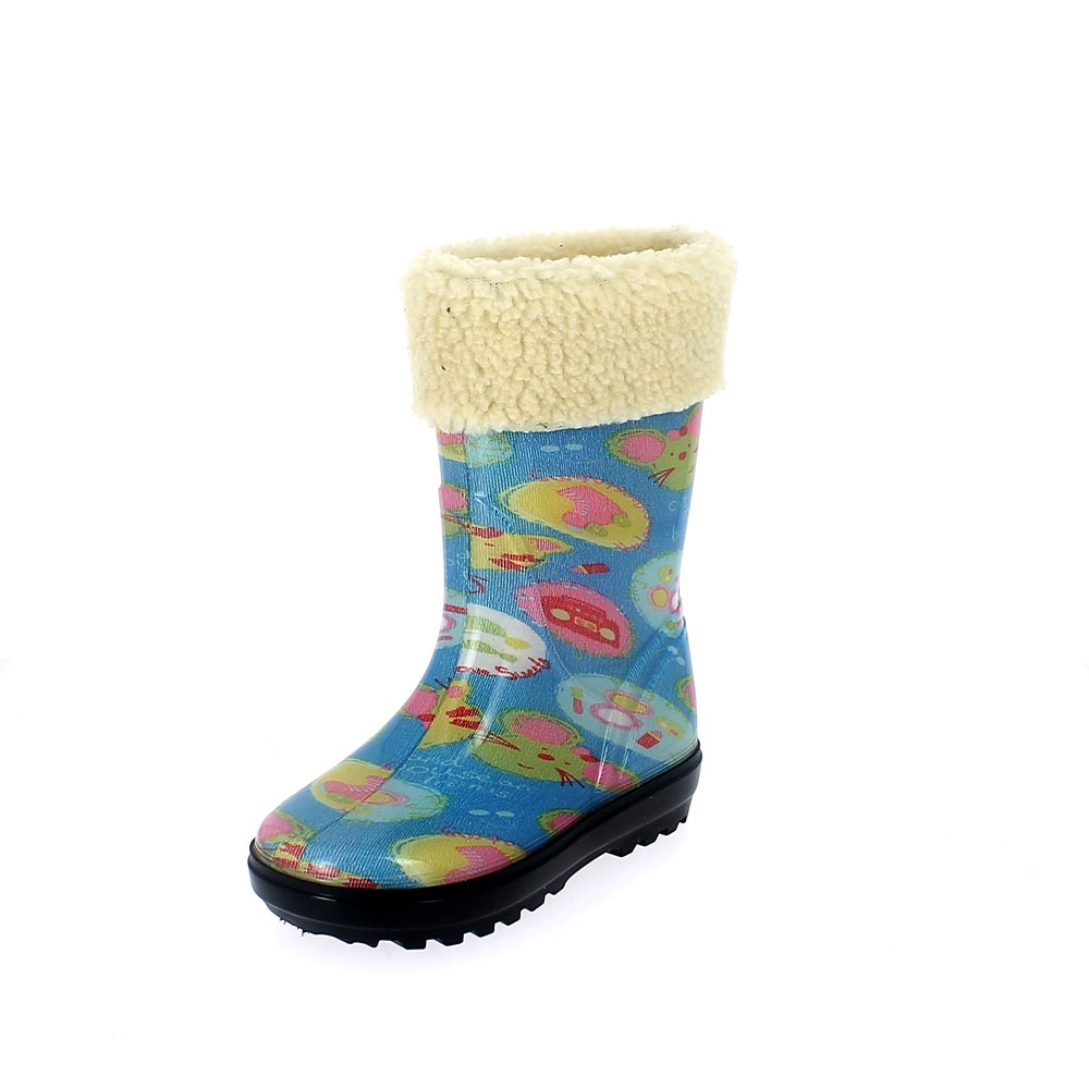 "Rainboot for children in transparent pvc with cut and sewn lining; felt inner lining and synthetic wool cuff - pattern ""cat&mouse"" - colour azzurro"