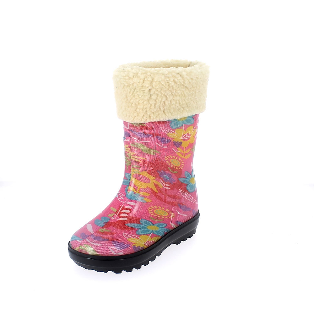 "Rainboot for children in transparent pvc with cut and sewn lining; felt inner lining and synthetic wool cuff - pattern ""flowers"""
