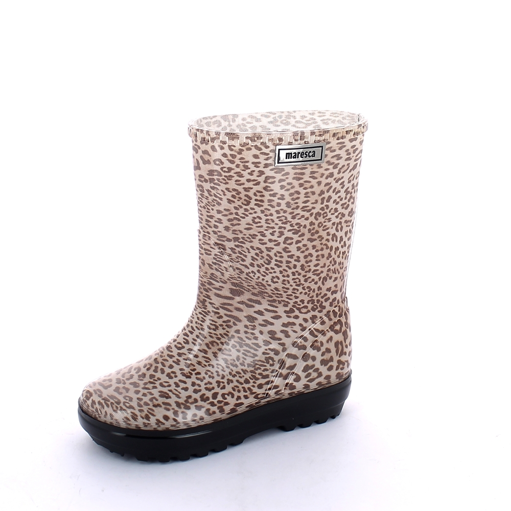 "Rainboot for children made of transparent pvc with cut and stitched pattern ""leopard"" lining - colour brown"