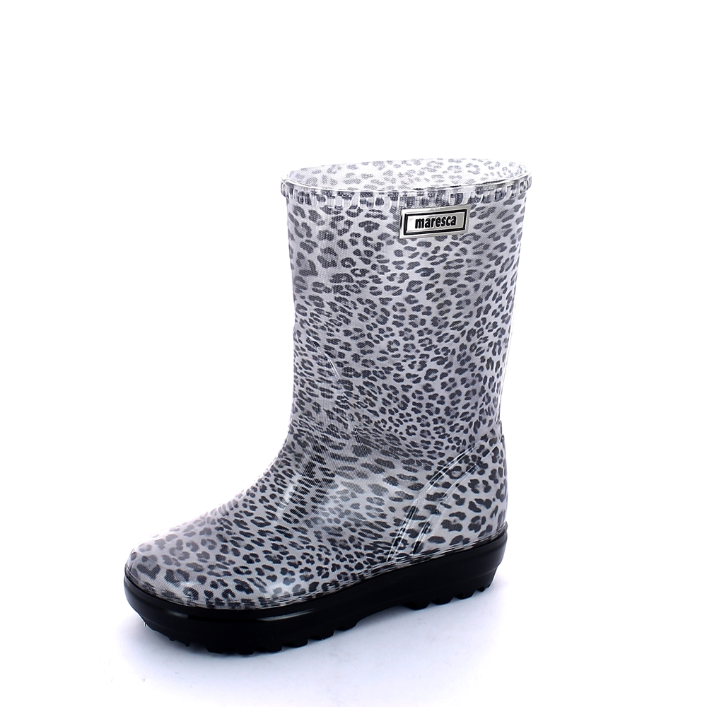 "Rainboot for children made of transparent pvc with cut and stitched pattern ""leopard"" lining - colour black"
