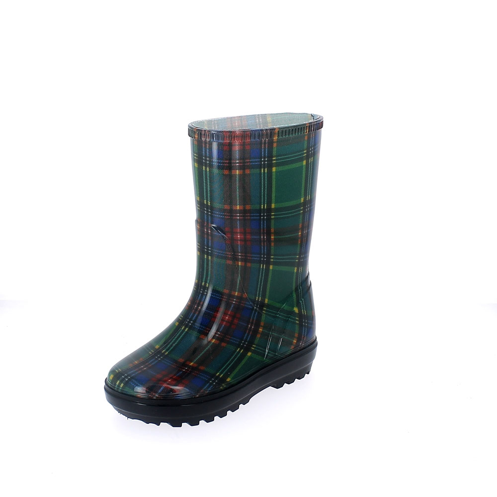 "Rainboot for children made of transparent pvc with cut and sewn ""tartan"" pattern lining - colour blu verde"