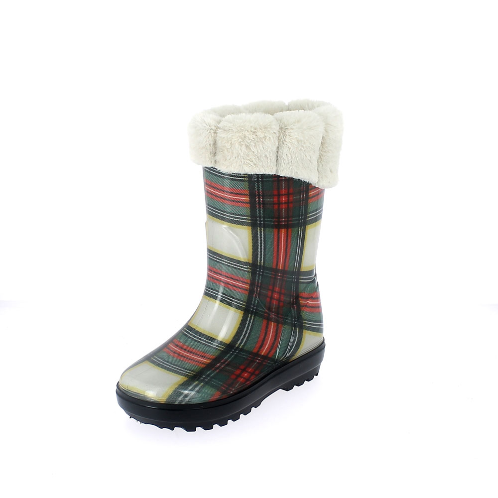 "Rainboot for children made of transparent pvc with cut and sewn ""tartan"" pattern lining - with inner lining and cuff - colour bianco"