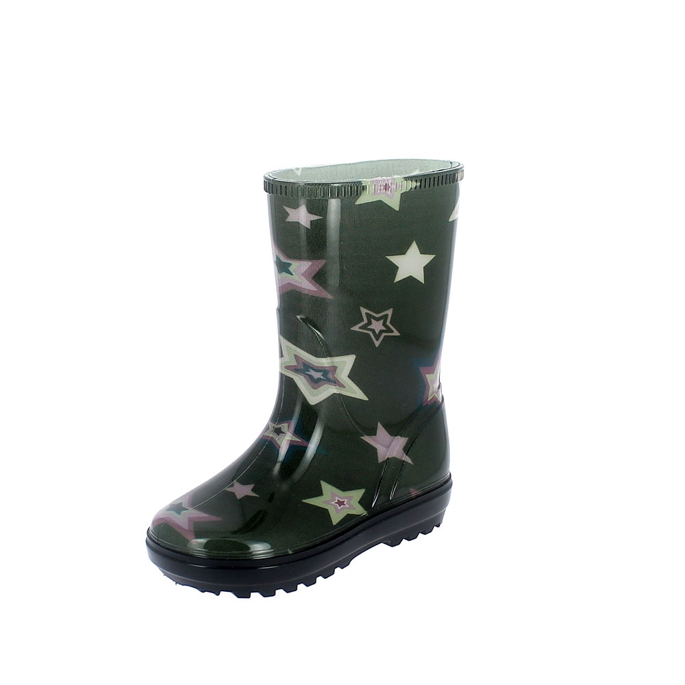 "Rainboot for children made of transparent pvc with cut and sewn lining with ""stars"" pattern - colour verde"
