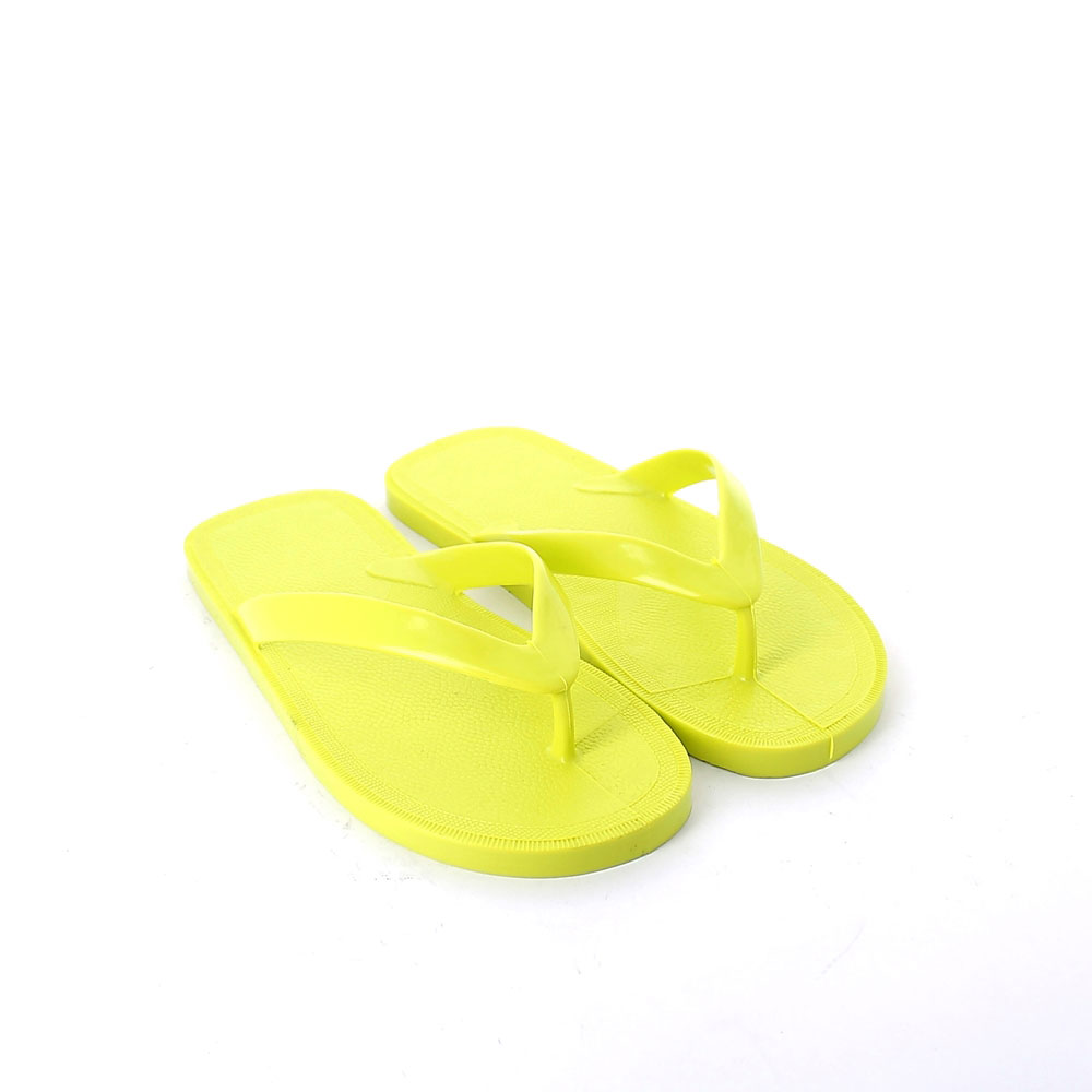 Flip flop mule made of solid colour pvc with bright finish