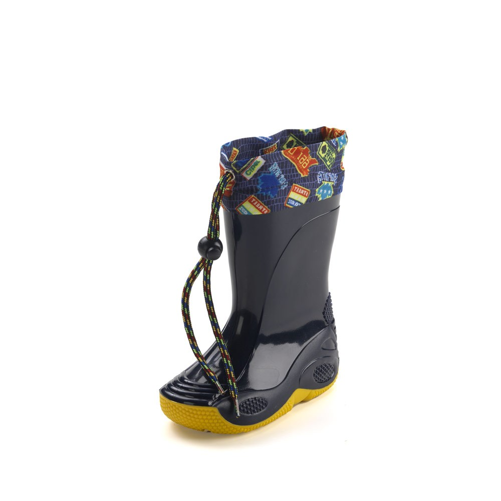 Rainboot for children, made of two-colour pvc, variant blue with yellow sole and nylon collar