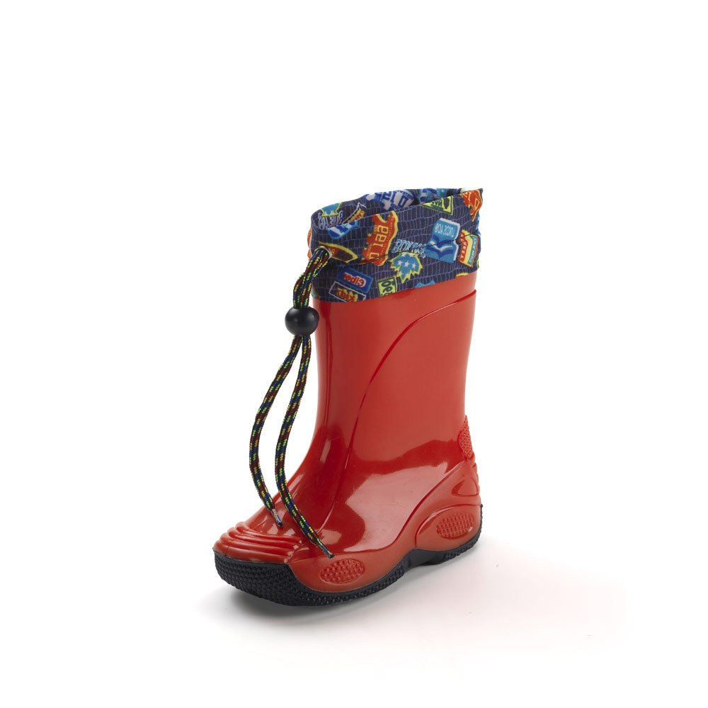 Rainboot for children, made of two-colour pvc, variant red with blue sole, and nylon collar