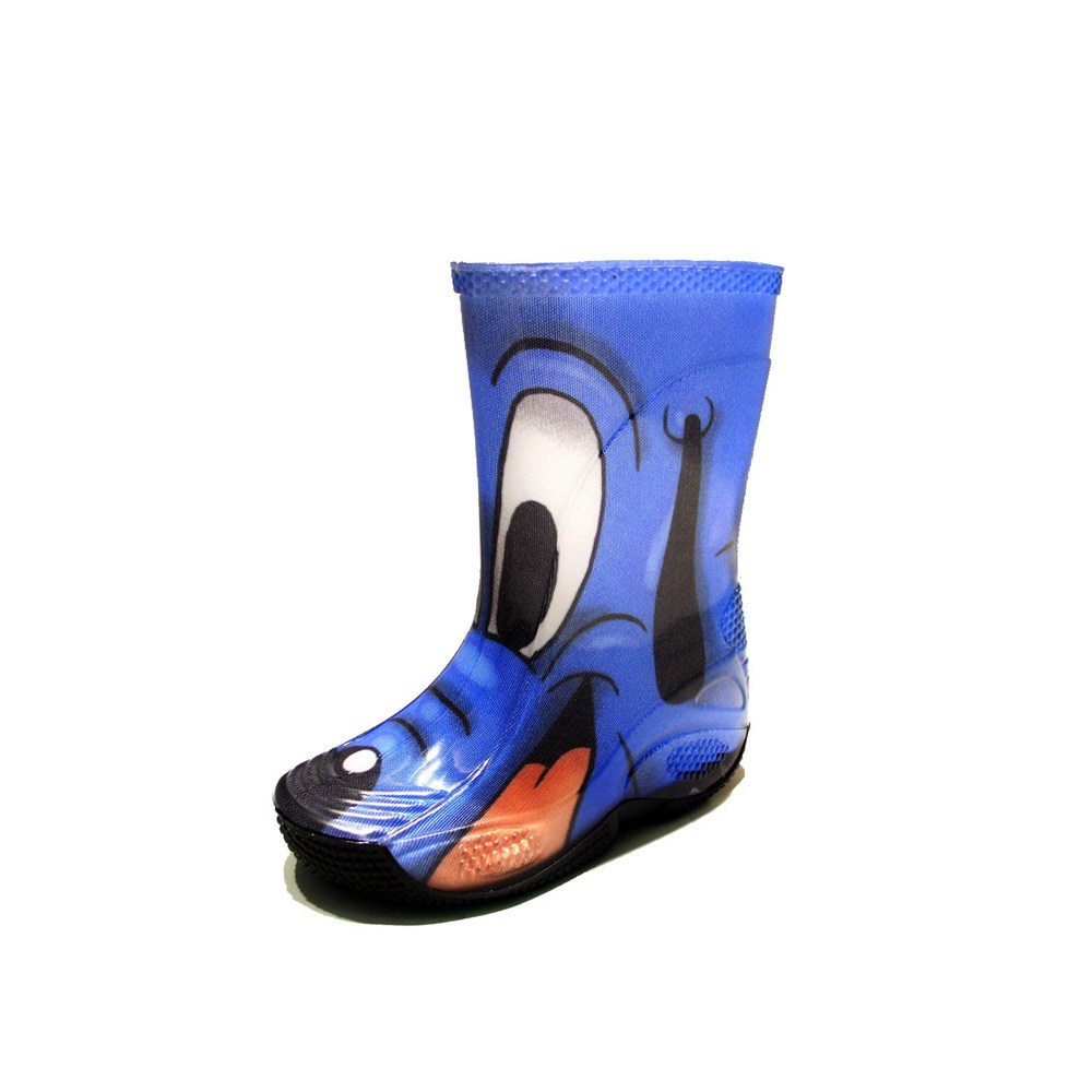 "Rainboot for children made of transparent brigh finish pvc and tubular lining with pattern ""cane blu"" (blue dog)"