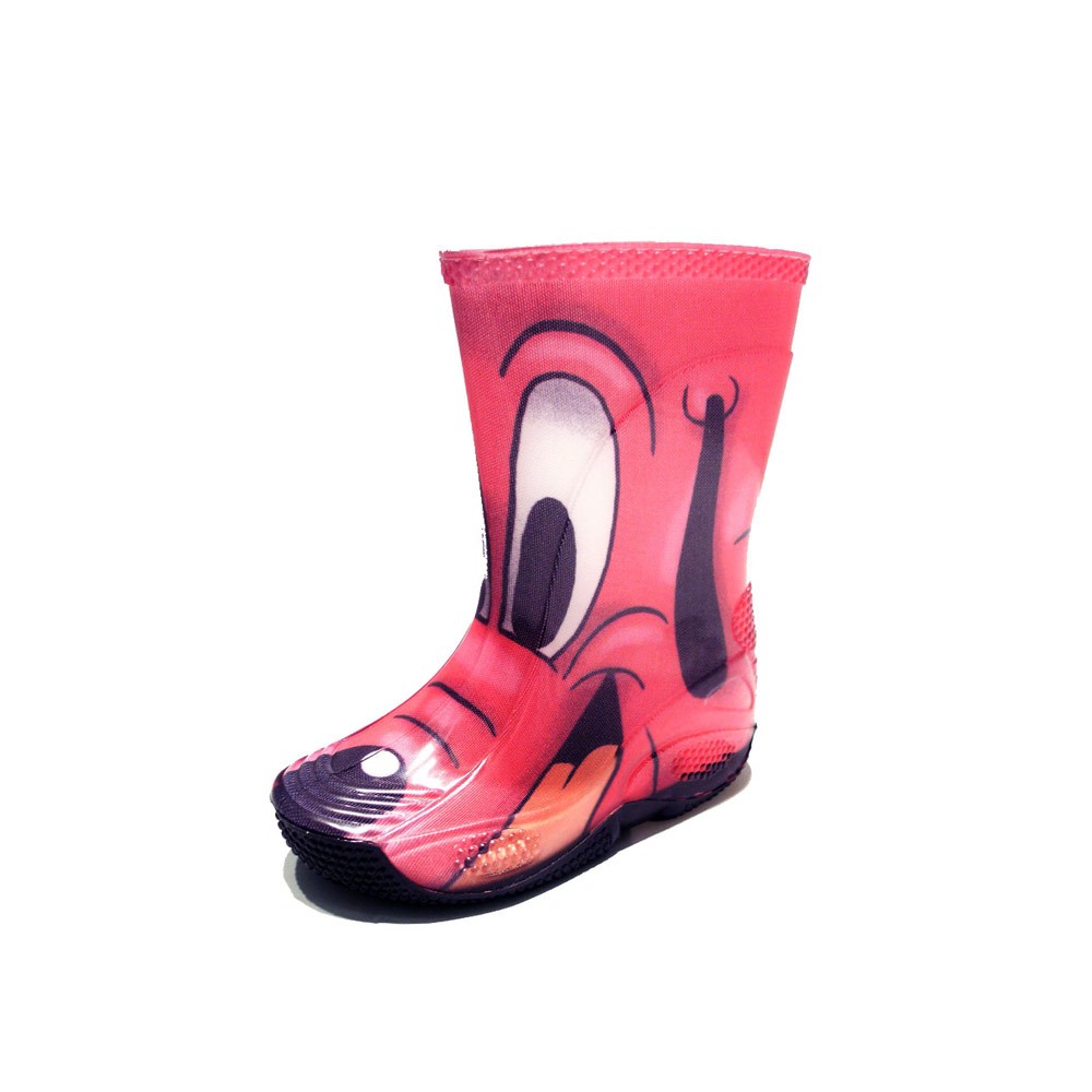 "Rainboot for children made of transparent brigh finish pvc and tubular lining with pattern ""cane fuxia"" (fuxia dog)"
