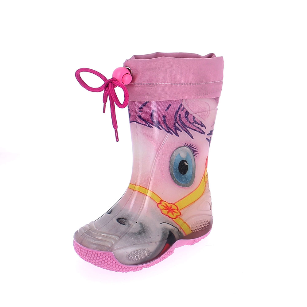 "Rainboot for children made of transparent brigh finish pvc and tubular lining with pattern ""pony rosa""  and nylon collar"