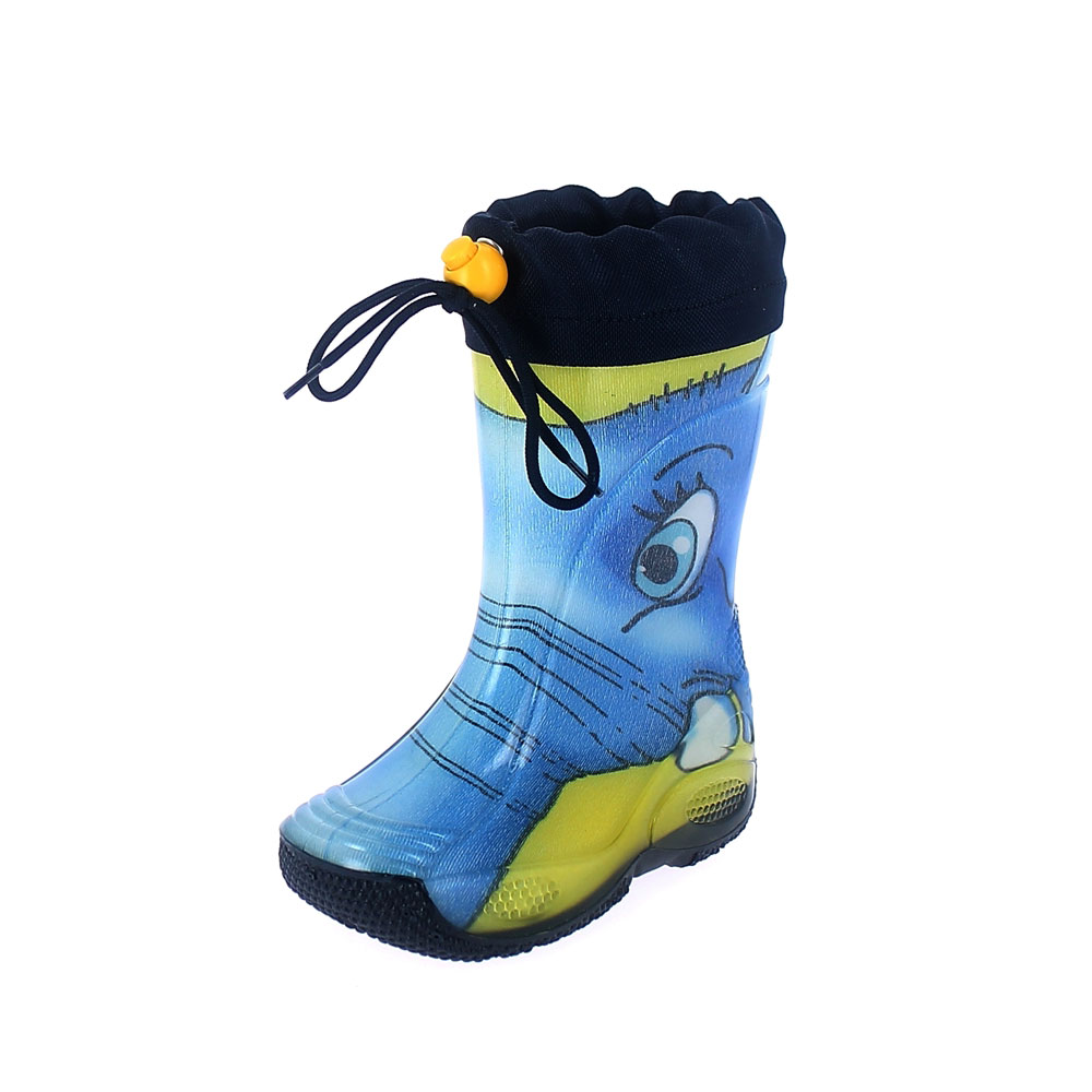 "Rainboot for children made of transparent brigh finish pvc and tubular lining with pattern ""elefante giallo"" and nylon collar"