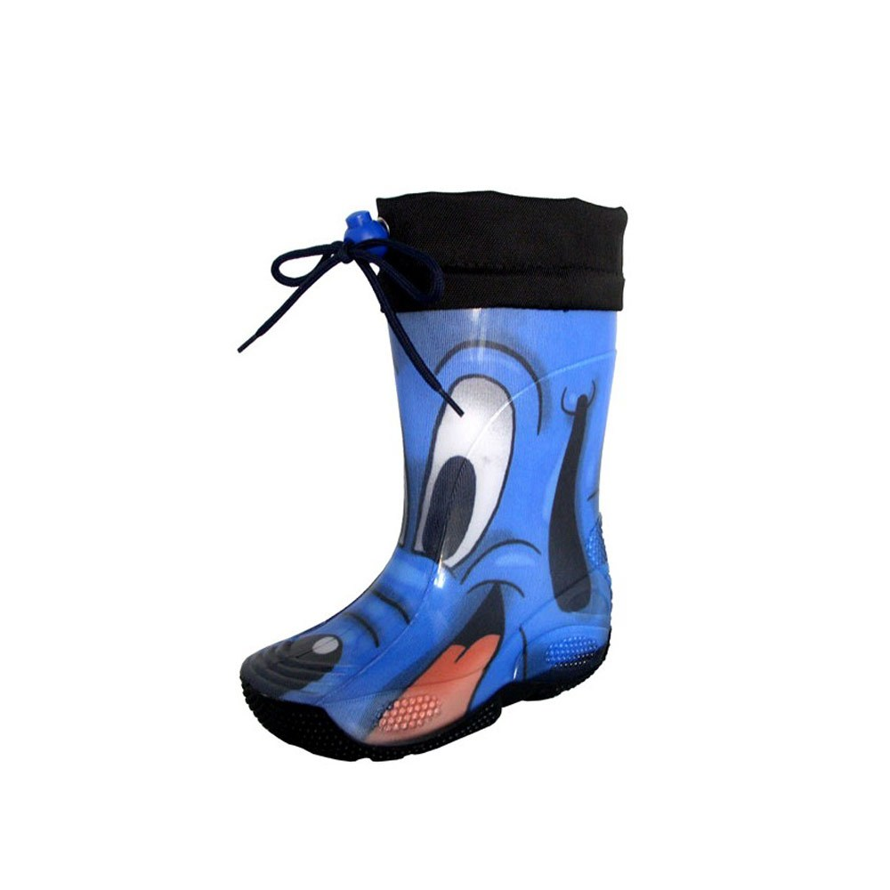 "Rainboot for children made of transparent brigh finish pvc and tubular lining with pattern ""cane blu"" (blue dog) and nylon collar"