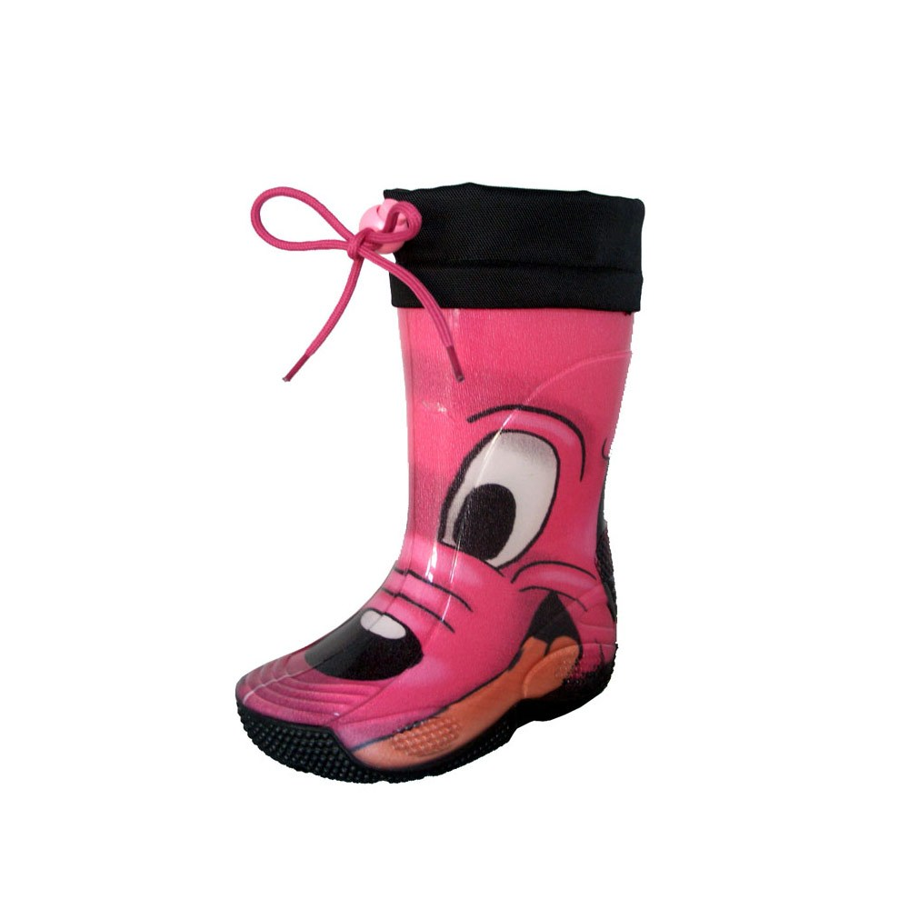 "Rainboot for children made of transparent brigh finish pvc and tubular lining with pattern ""cane fuxia"" (fuxia dog) and nylon collar"