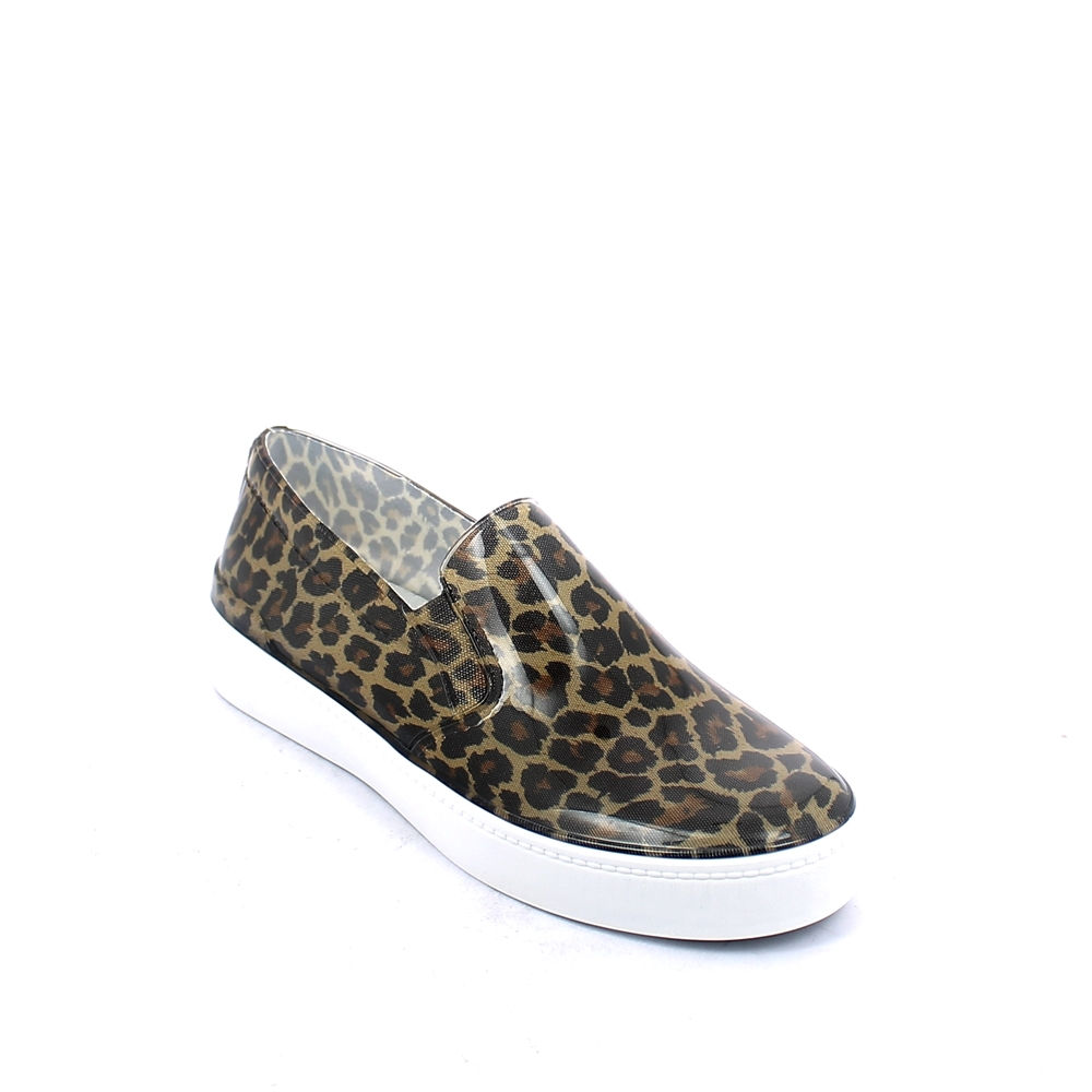 "Bright pvc Slip on shoe with cut and sewn ""coffee leopard"" inner sock and insole"