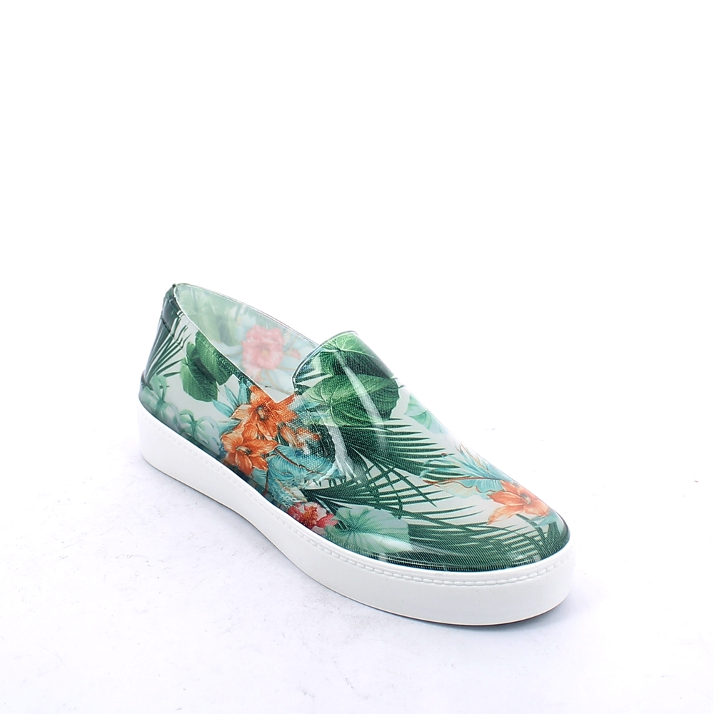 "Bright pvc Slip on shoe with cut and sewn ""Green Tropical Flowers"" inner sock and insole"