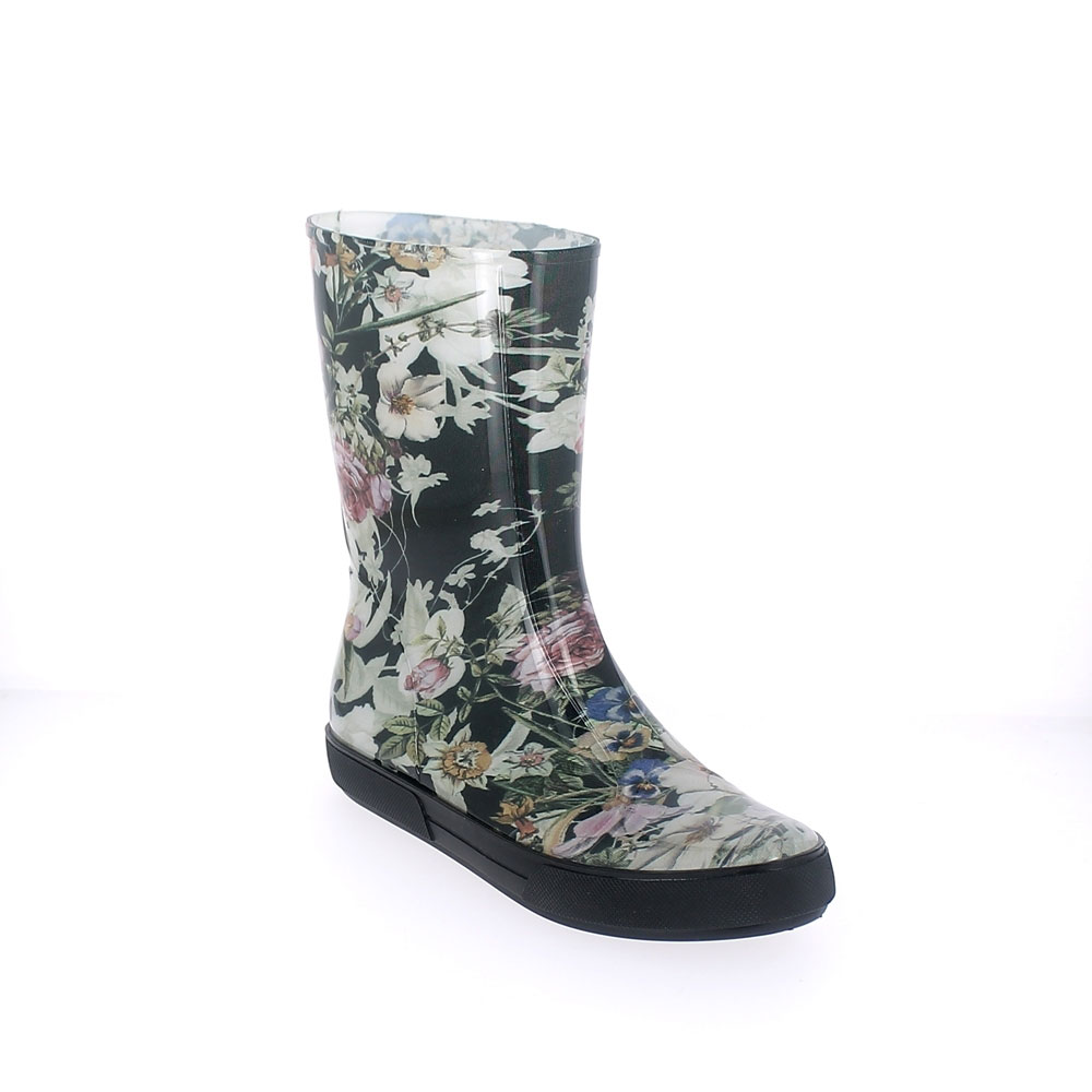 "Two-Colour Bright pvc Sneaker low boot with ""cut and sewn"" fantasy inner sock ""Flower"". Made in Italy"