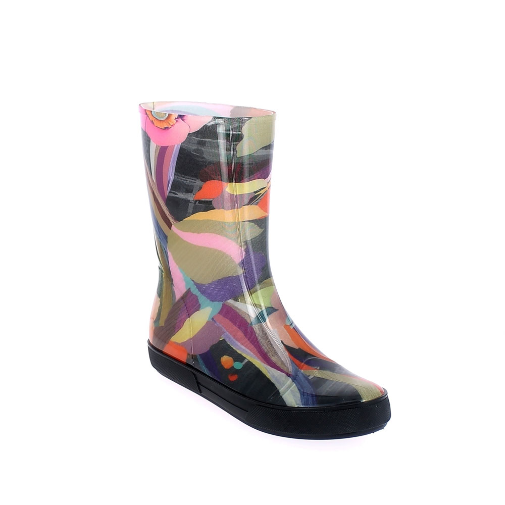 "Transparent bright pvc Sneaker low boot with ""cut and sewn"" fantasy inner sock ""Flower Multi"" + Lettering. Made in Italy"