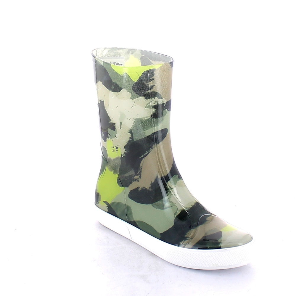 "Two-Colour Bright pvc Sneaker low boot with ""cut and sewn"" fantasy inner sock ""Green Abstract camouflage"""