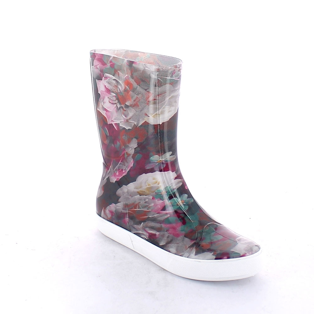 "Two-Colour Bright pvc Sneaker low boot with ""cut and sewn"" fantasy inner sock ""Fuxia Roses"""