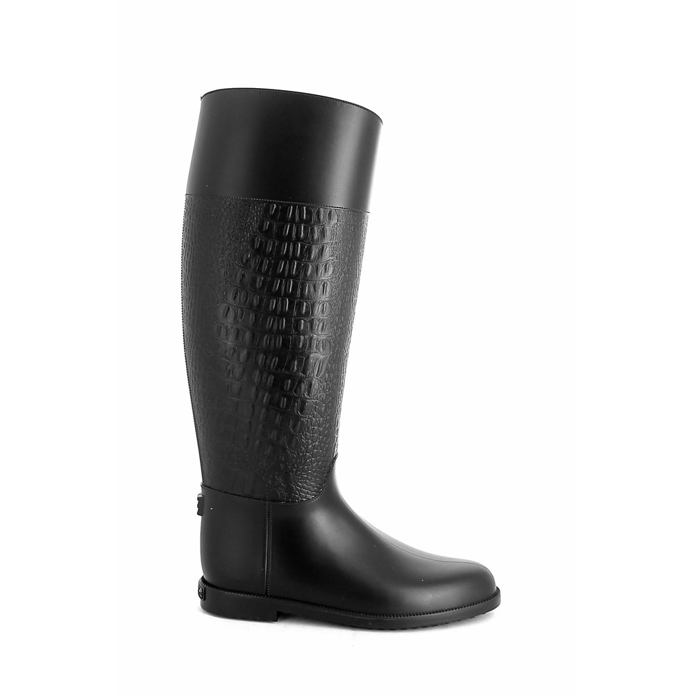 Riding boot in matt pvc with high boot leg  featured by photoengraved crocodile print