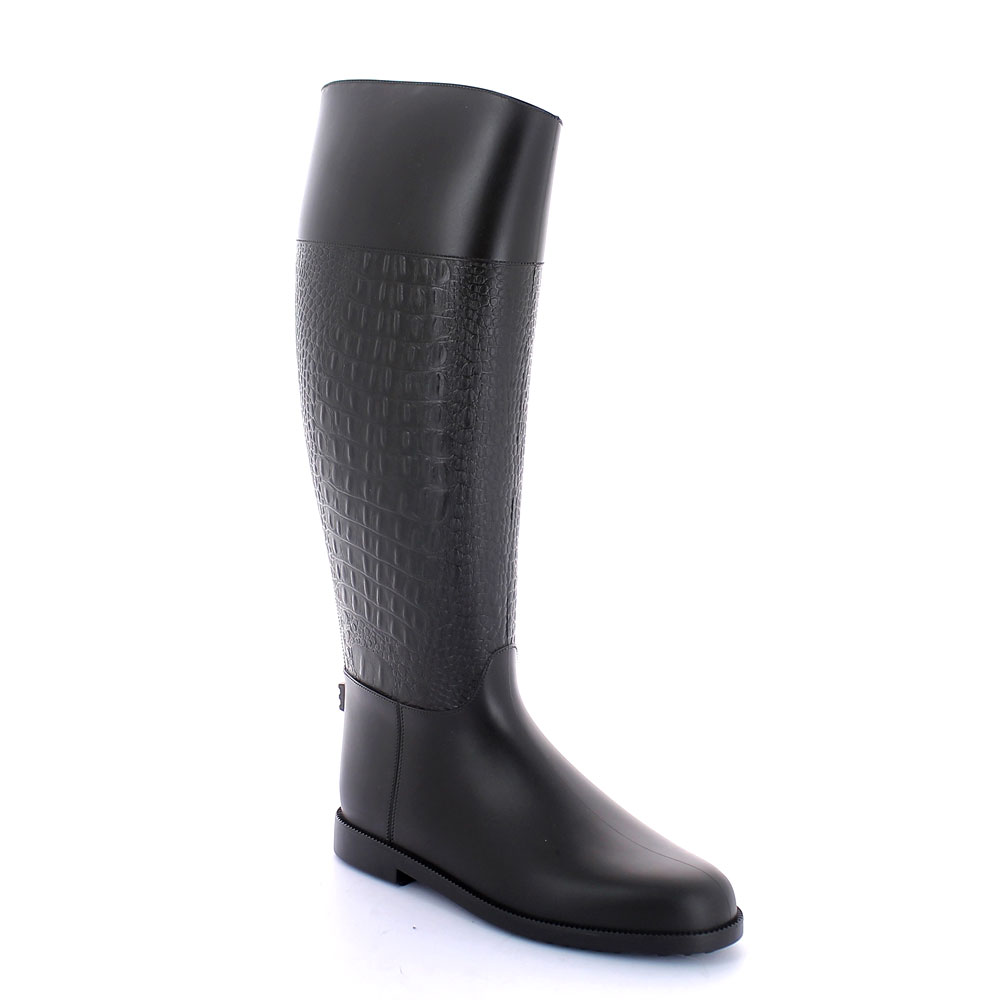 Pvc Riding boot with photo engraved bootleg with crocodile print and solid colour inner lining