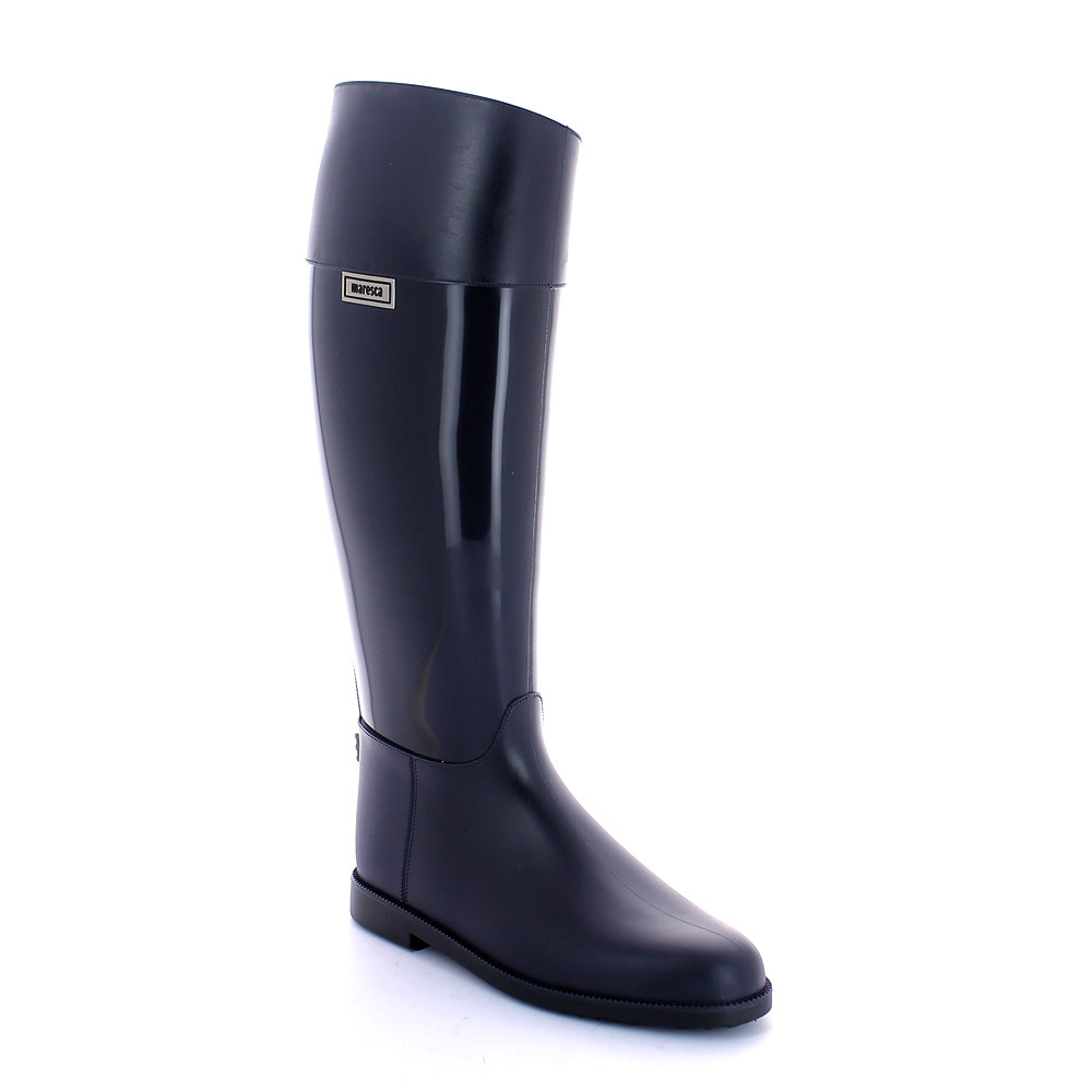 Pvc Riding boot with upper band/foot with matt finish and middle boot leg with bright finish; solid colour inner lining