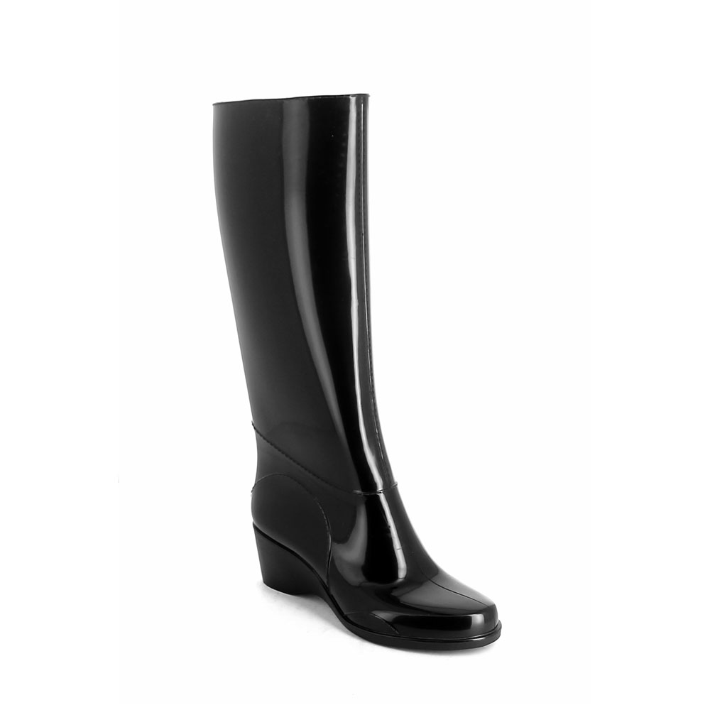 Boot in bright finish pvc with wedge outsole and high boot leg