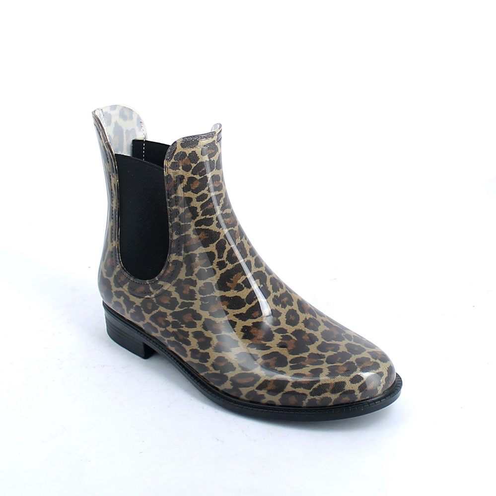 "Chelsea boot in bright transparent pvc with elastic band on ankle sides and cut &Sewn lining with pattern ""Coffee colour Maculato"""