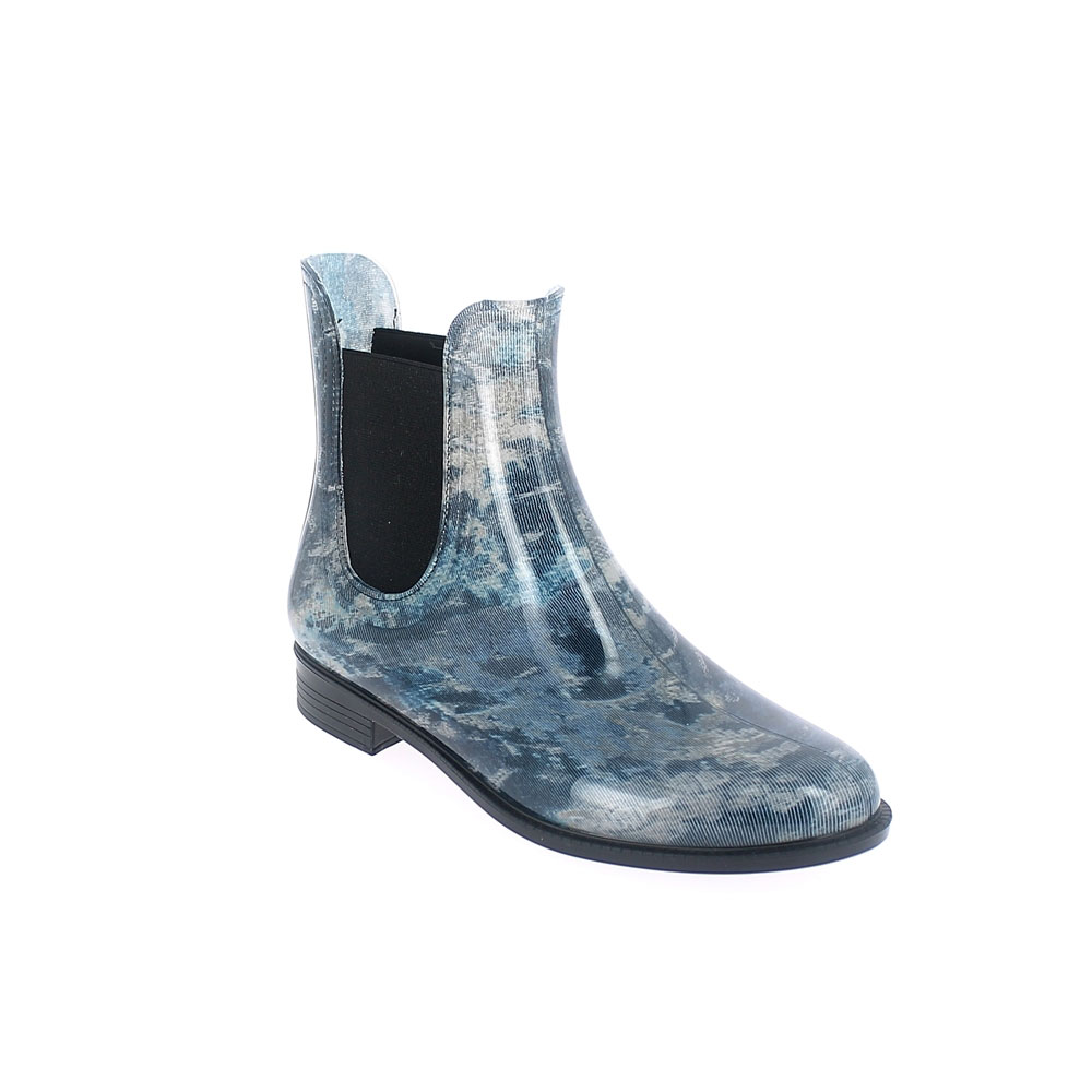 "Chelsea boot in bright transparent pvc with elastic band on ankle sides and cut & Sewn lining with pattern ""Abstract azzurro"". Made in Italy"