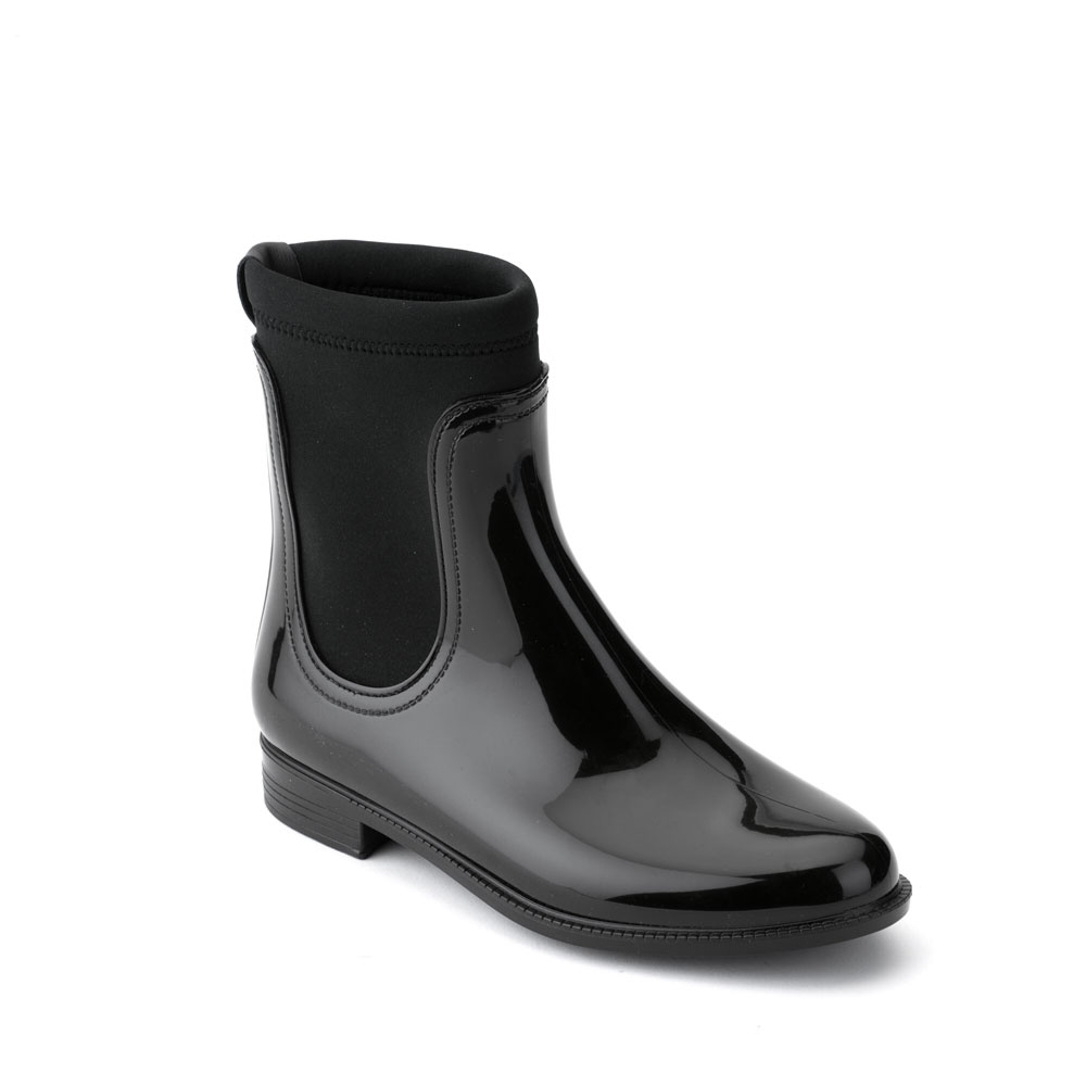 Chelsea boot in bright pvc with elastic band on ankle sides and neoprene sock at ankle heitght
