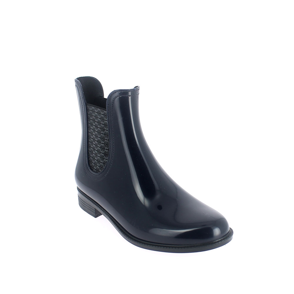 Chelsea boot in bright transparent pvc with printed elastic band on ankle side. Made in Italy